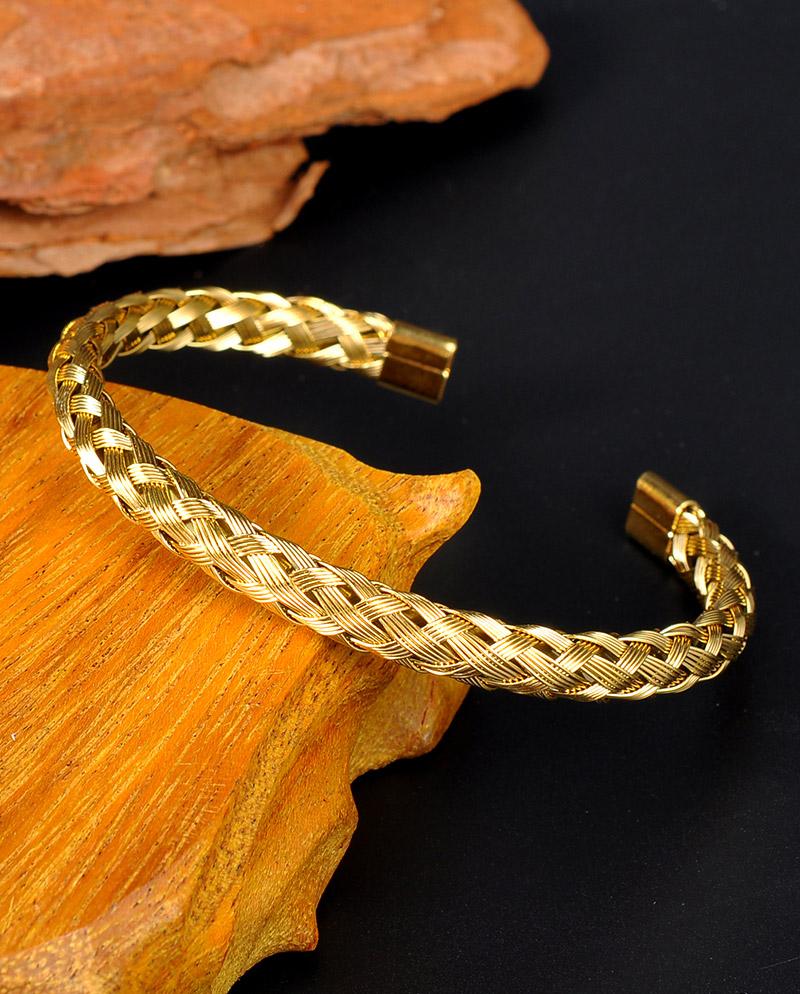 18K-Gold-Mens-Twist-Bracelet-Jewelry