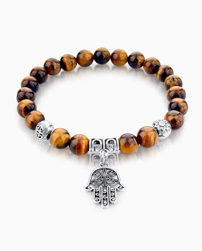 Mens-hamsa-hand-tiger-eye-stone-bracelet