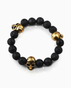 Mens-jewelry-lava-stone-skull-bracelets