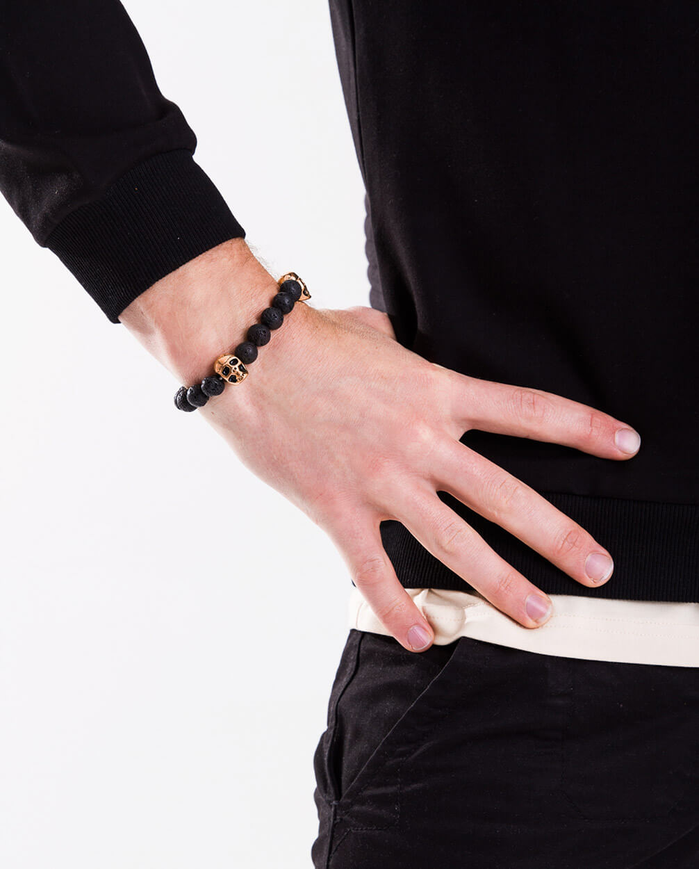 Lava-Stone-18kt-Gold-Skull-Bead-Charm-Bracelet