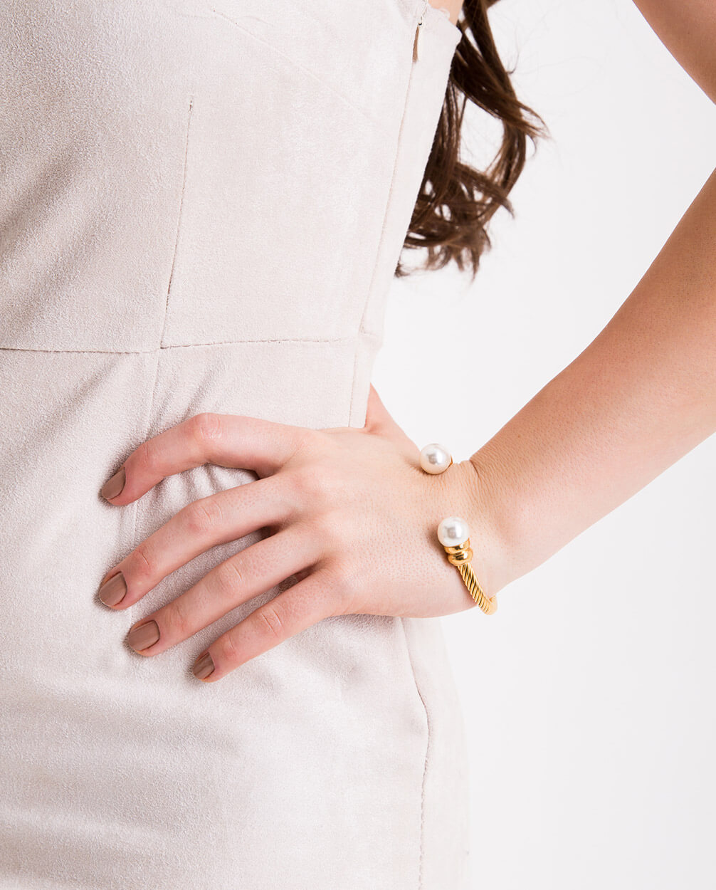 Womens-18kt-Gold-Plated-Pearl-Cuff-Bracelet