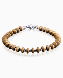 mens-petrified-wood-hematite-bead-bracelet
